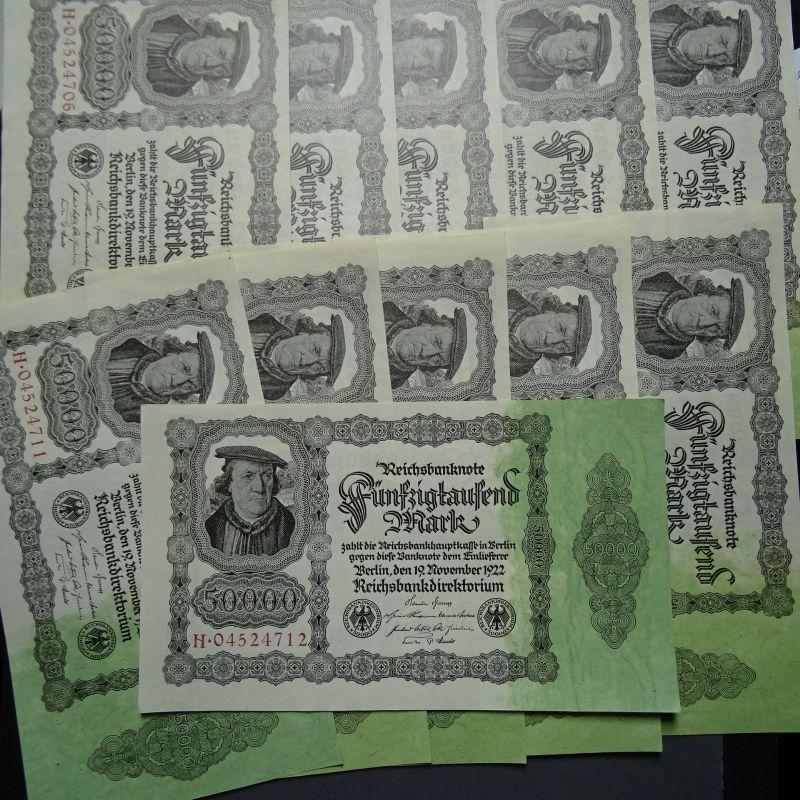 1 x Top Banknote Inflation: 50.000 Mark/Reichsmark von 1922, kfr/unc fortlaufend