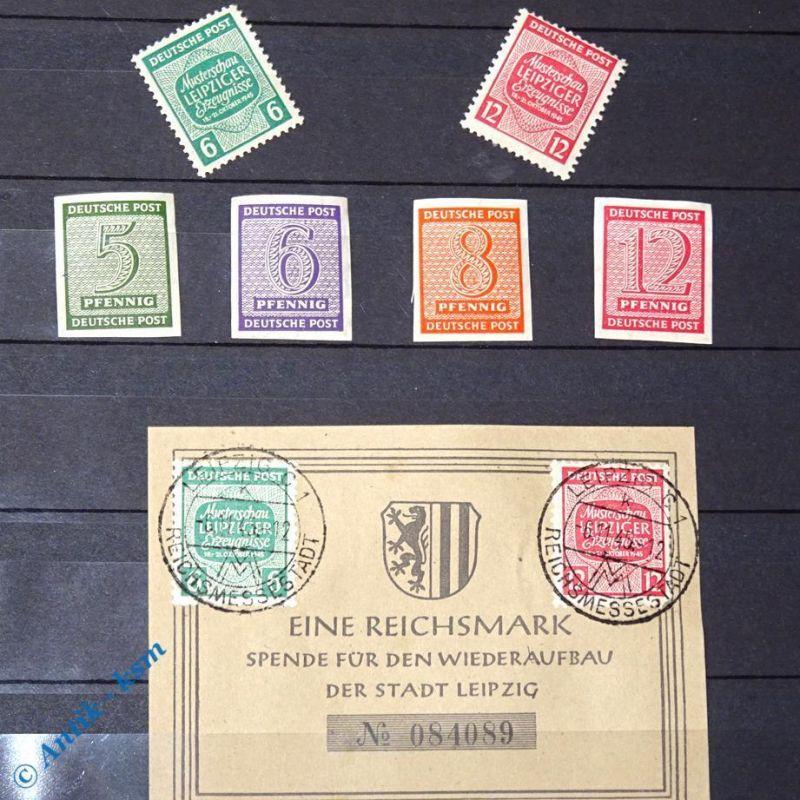 8 Briefmarken der SBZ , Sowjetische Zone , Leipzig + Spendenschein mit Stempel