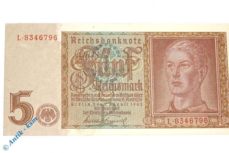 Reichsbanknote über 5 Mark von 1942 , DEU-220 a , Ros 179 , Pick 186 , kfr / unc
