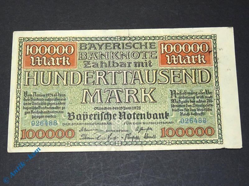 1 x Bayerische Banknote über 100.000 Mark , München den 15. Juni 1923 (2)
