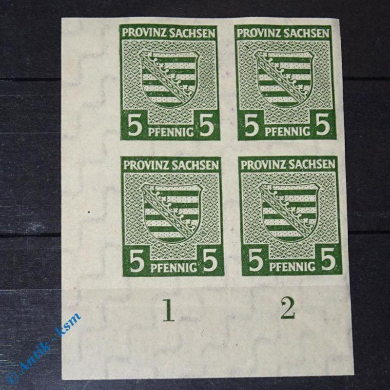 4 er Block Eck Randstück , Briefmarken der SBZ , 4 x 5 Pf. Provinz Sachsen