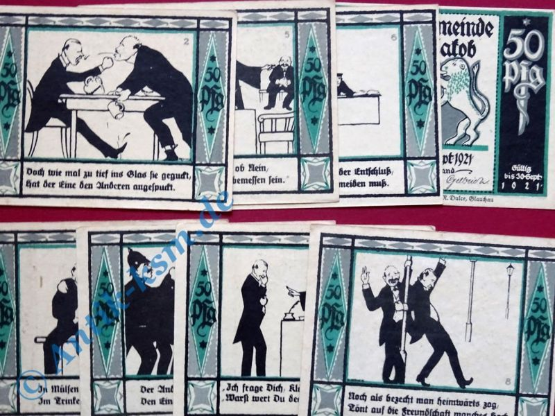 8 x Notgeld Mülsen St. Jacob ,  german emergency Money , 8 Scheine , kfr/unc