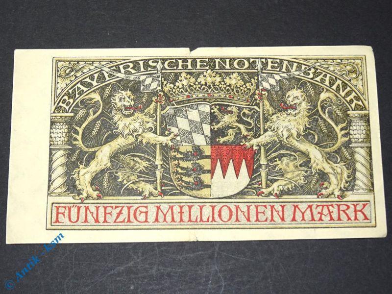 1 x Bayerische Banknote über 50 Millionen Mark , München den 20. August 1923 (2)
