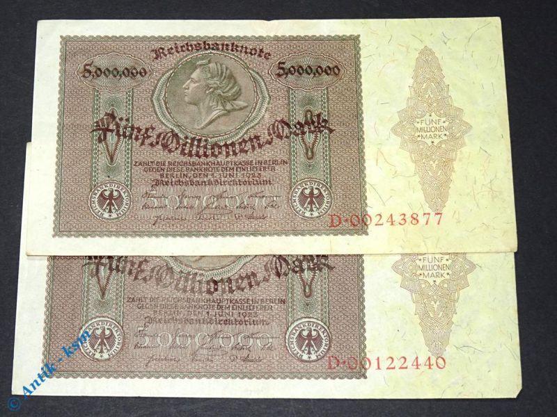 1 x Inflations Banknote über  5 Millionen  Mark , Medaillon Schein , 01.06.1923