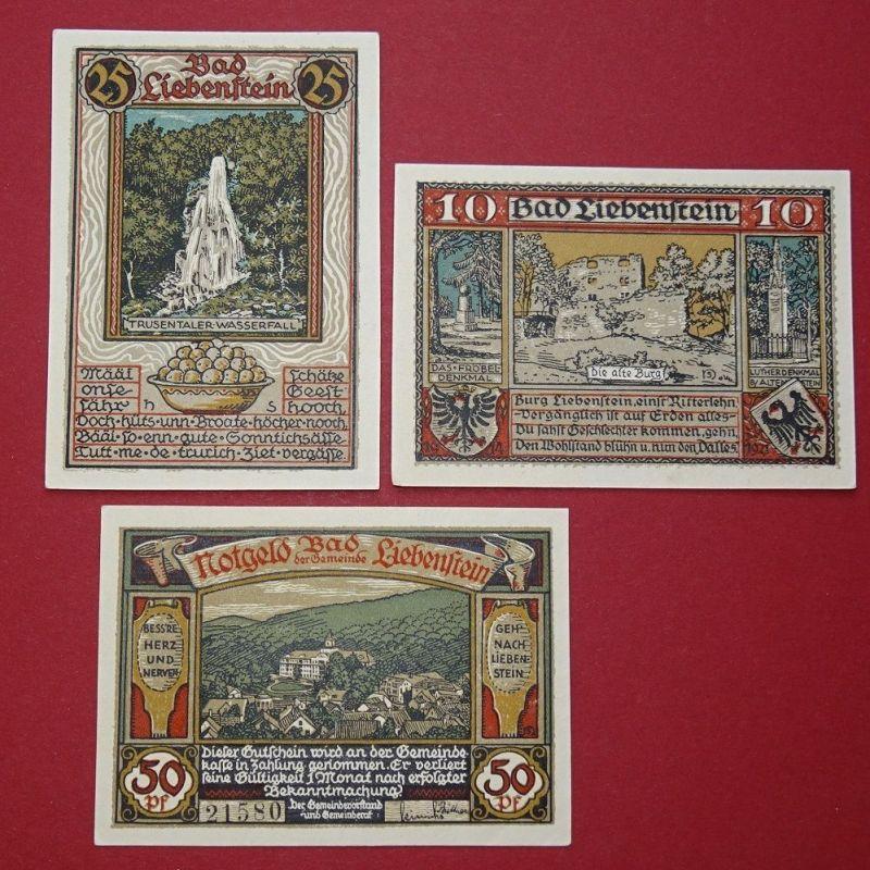 3 x Notgeld Bad Liebenstein , 3 Scheine german emergency Money ,kfr/unc