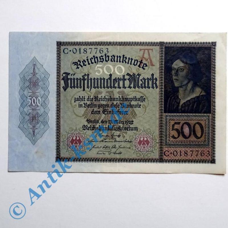 B   Reichsbanknote über 500 Mark vom 27.03.1922 , klasse erhalten