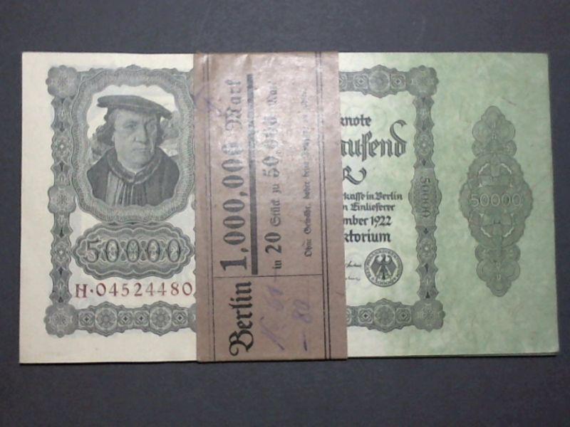 1 x Bündel 20 x 50.000 Reichsmark, fortlaufende Kn , kfr 1922 Banderole Berlin