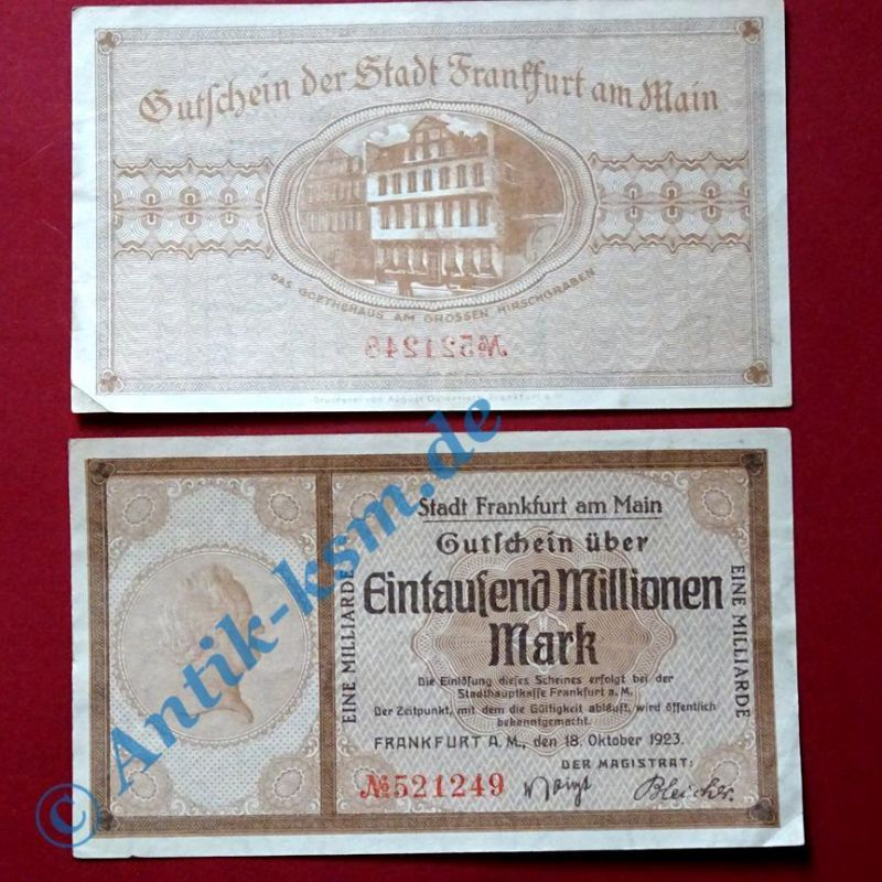 Groß Notgeld Banknote: 1000 Millionen / 1 Milliarde Mark, Frankfurt am Main