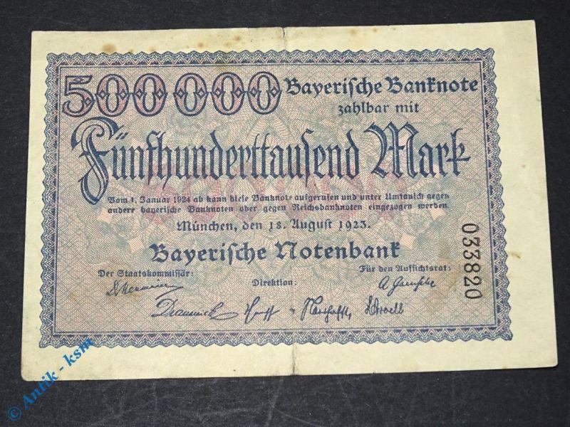 1 x Bayerische Banknote über  500.000  Mark , München den 18. August 1923