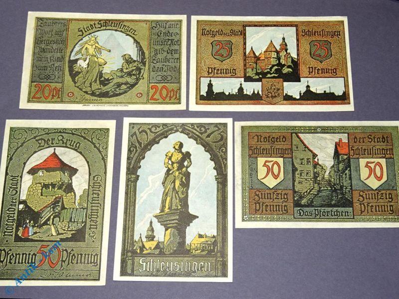 5 x Notgeld Schleusingen , 5 x german emergency money , M/G 1181.1 & 2 kfr / unc