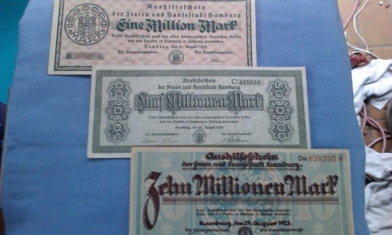 - Banknoten-Lot Hamburg Aushilfsscheine : 1, 5 und 10 Mio. Mark von 1923