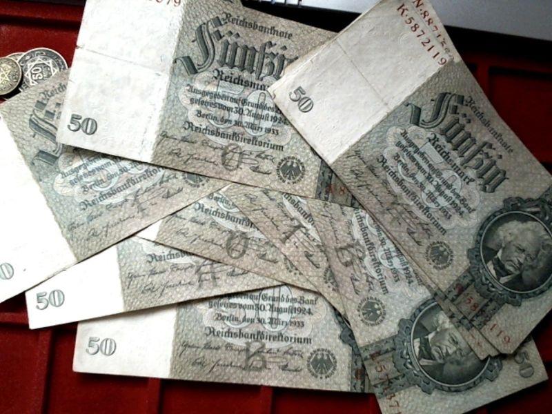1 x Banknote über 50 Reichsmark 1933 Kn. 7 Stellig, Udr.: B, H, O, T + Serie