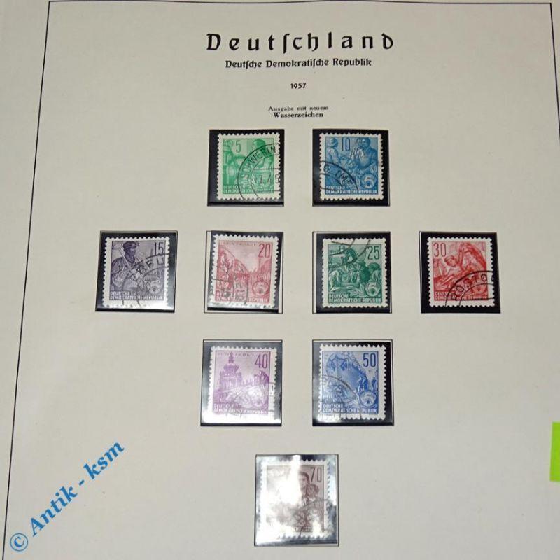 9 Briefmarken DDR 1957 Mi.-Nr. ? , 5 Pfennig bis 70 Pfennig , siehe Detailbilder