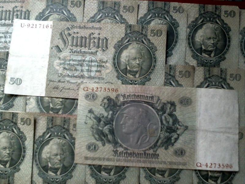 1 x Banknote über 50 Reichsmark 1933 Kn. 7 Stellig, Udr.: I, M, E, Z + Serie