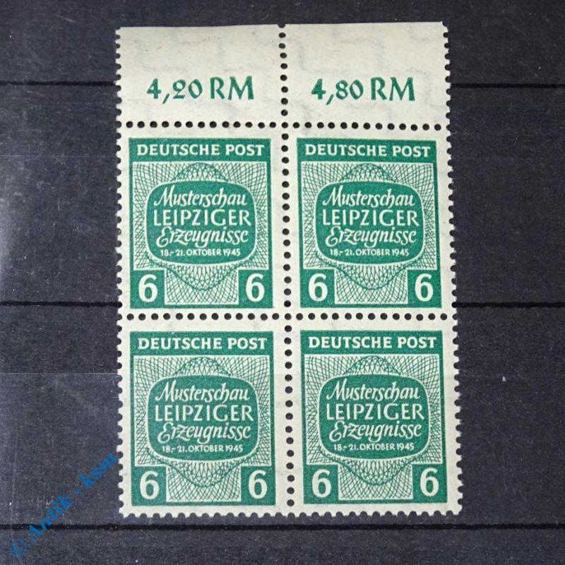4 er Block Randstück mit Wert ,Briefmarken der SBZ , Sowjetische Zone , Leipzig