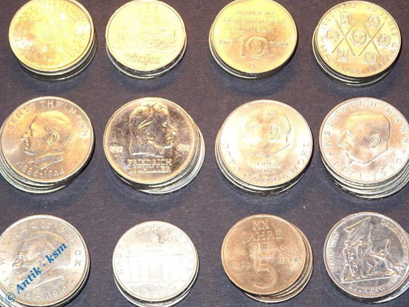 12 x DDR Gedenkmünzen, 5 bis 20 Mark u.a. Schiller, Brandenburger Tor, Meissen