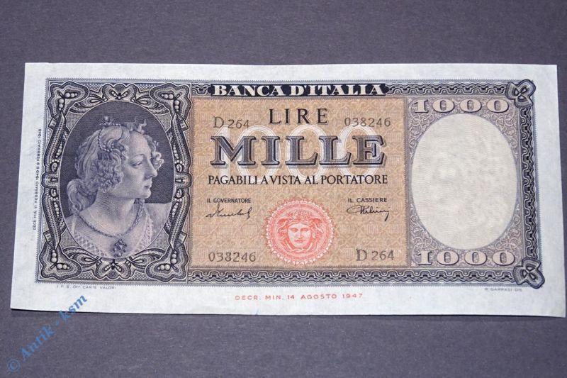 Italien 1000 Lire von 1948 b . Tre Grazie Boticelli Gorgone Meduse , xf-unc RRR