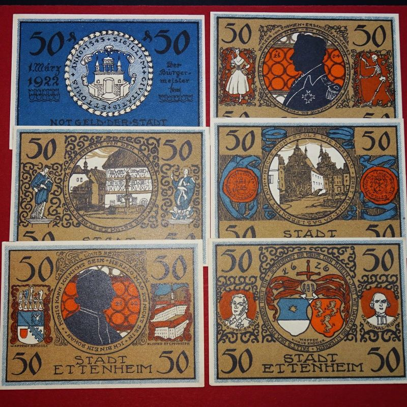 6 x Notgeld der Stadt Ettenheim , german emergency money , 6 Scheine kfr/unc