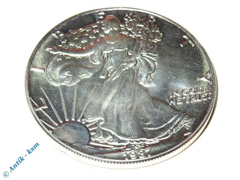 USA 1 Dollar - Silbermünze 1987 1oz. 1 Unze 999/1000 Fine Silver ,  ERHALTUNG