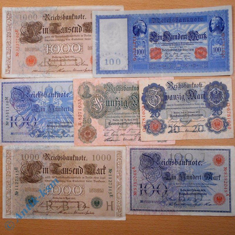 Tolles Lot : 7 x Kaiserreich Banknoten , 20 Mark bis 1000 Mark / Reichsmark
