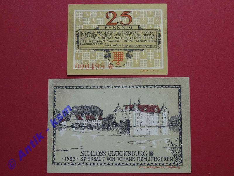 2 x Notgeld Glücksburg , german emergency money , 2 Scheine komplett in kfr/unc