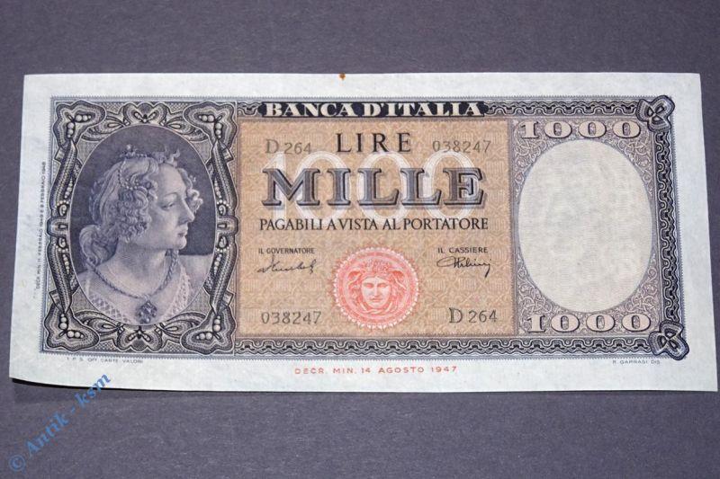 Italien 1000 Lire von 1948 b . Tre Grazie Boticelli Gorgone Meduse , xf-unc (2)