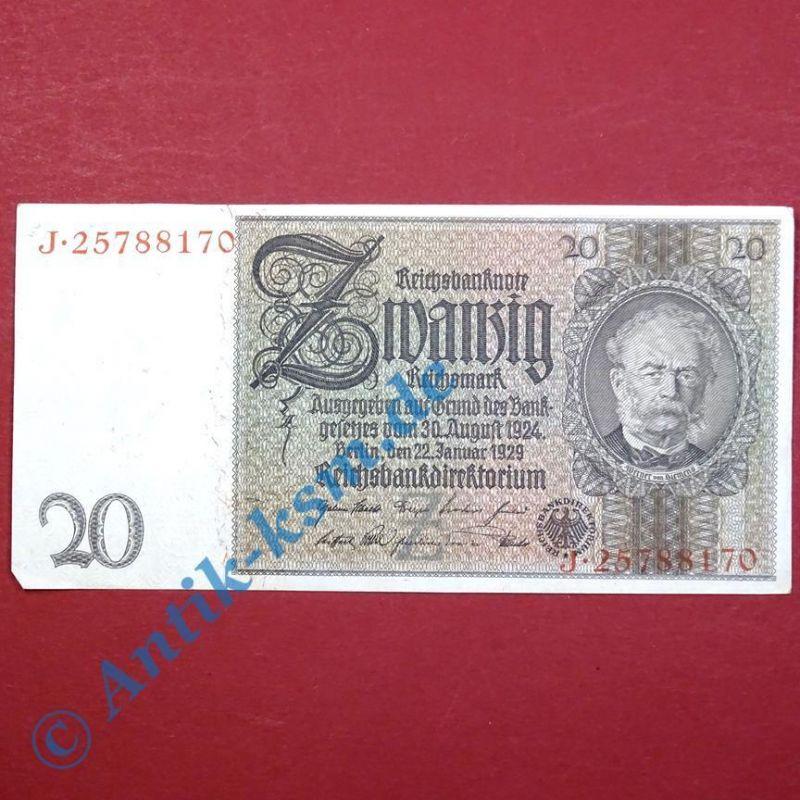 Reichsbanknote 20 Mark, Rosenberg 174a , Z , Reichsmark, Banknote vom 22.01.1929