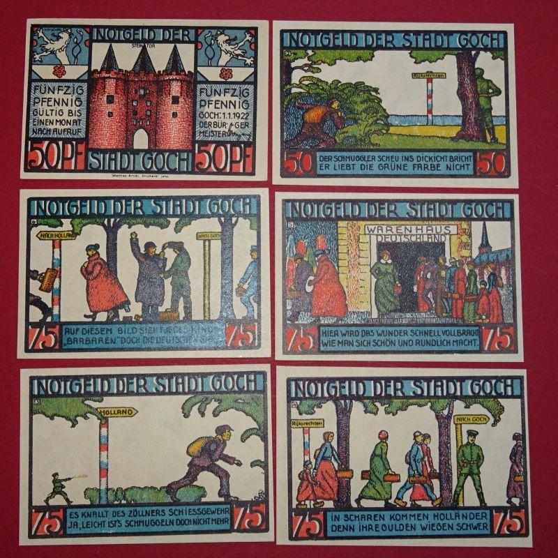 6 x Notgeld Stadt Goch ,  german emergency Money , 6 Scheine , kfr/unc