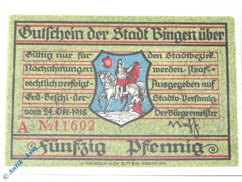 Notgeld Bingen , 50 Pfennig Schein , Tieste 0630.05.10 , von 1918 , Hessen kfr