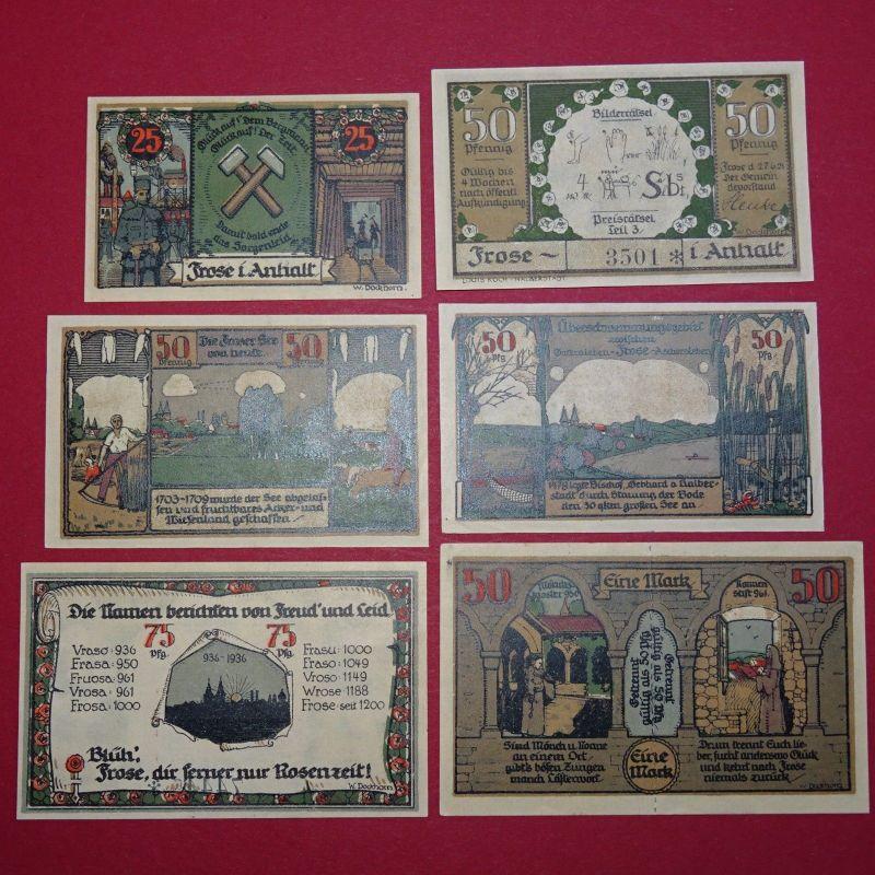 6 x Notgeld der Gemeinde Frose ,  german emergency Money , 6 Scheine , kfr/unc