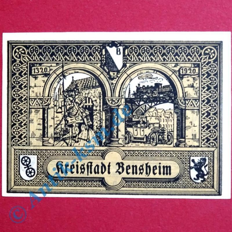 A Notgeld Bensheim , Einzelschein über 50 Pfennig Zickzacklinien Tieste 0415.10