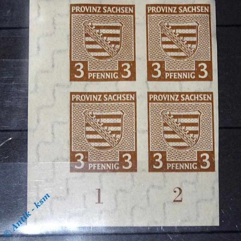4 er Block Eck Randstück , Briefmarken der SBZ , 4 x 3 Pf. Provinz Sachsen