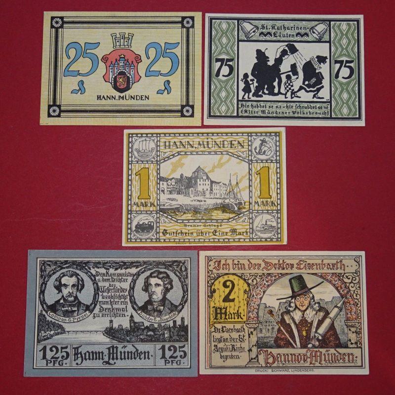 5 x Notgeld Hann Münden , german emergency money , 5 Scheine komplett in kfr/unc