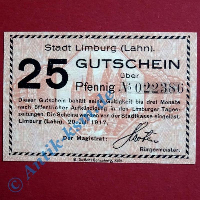 Notgeld Limburg , Einzelschein über 25 Pfennig , Tieste 4100.02 , von 1917 , kfr