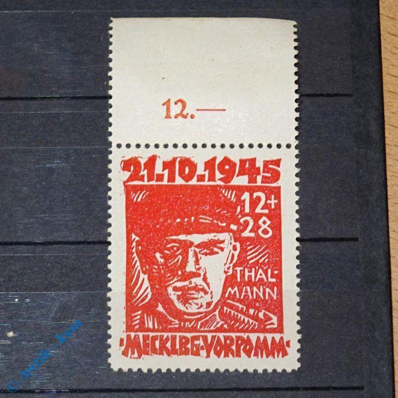 Briefmarke SBZ , Randstück mit Ziffer , Mecklenburg Vorpommern 1945 Thälmann