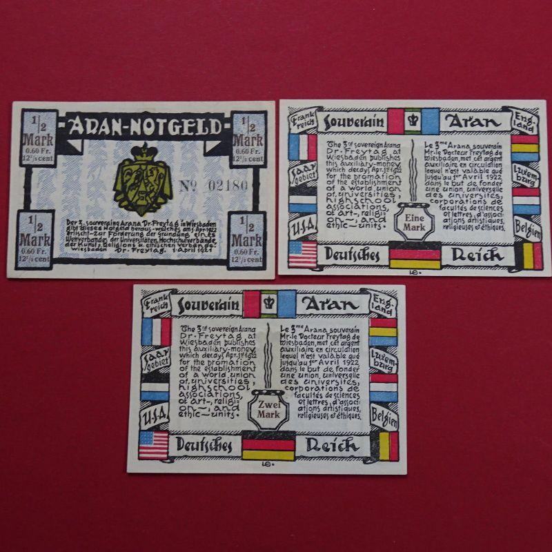 A 3 x WOW Notgeld Wiesbaden, Dr. Freytag Souveräner Aran alle 3 Werte  - selten