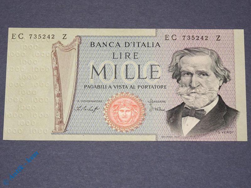 1 x Banknote Italien , 1.000 Lire , Verdi , von 1977 , Mille Lire , kfr/unc