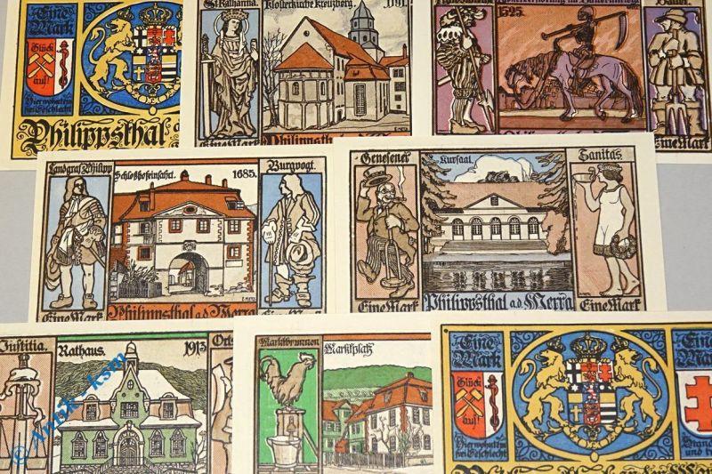 8 x Notgeld Philippsthal an der Werra, german emergency Money , M/G 1058.1 kfr