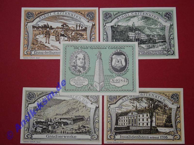 5 x Notgeld Carlshafen , german emergency Money , komplett , kassenfrisch / unc