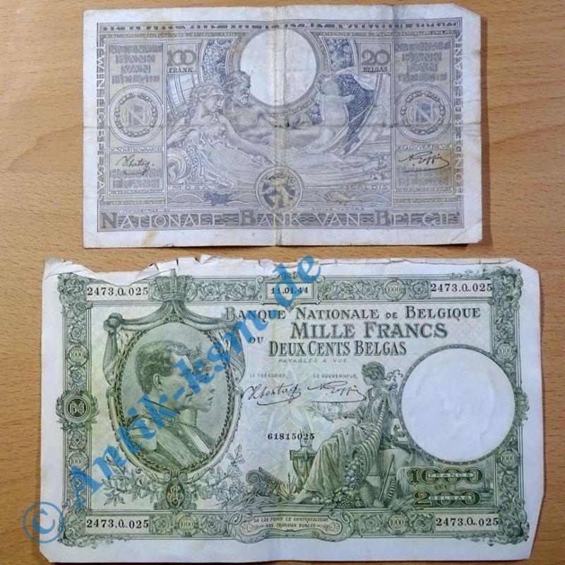 2 Banknoten Belgien / Belgium : 1000 Francs 1944 und 100 Francs 1942