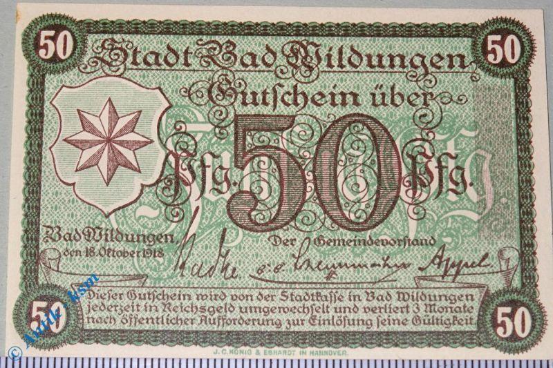 Notgeld Bad Wildungen , 50 Pfennig grün , Musterschein ohne Kennummer , kfr/unc