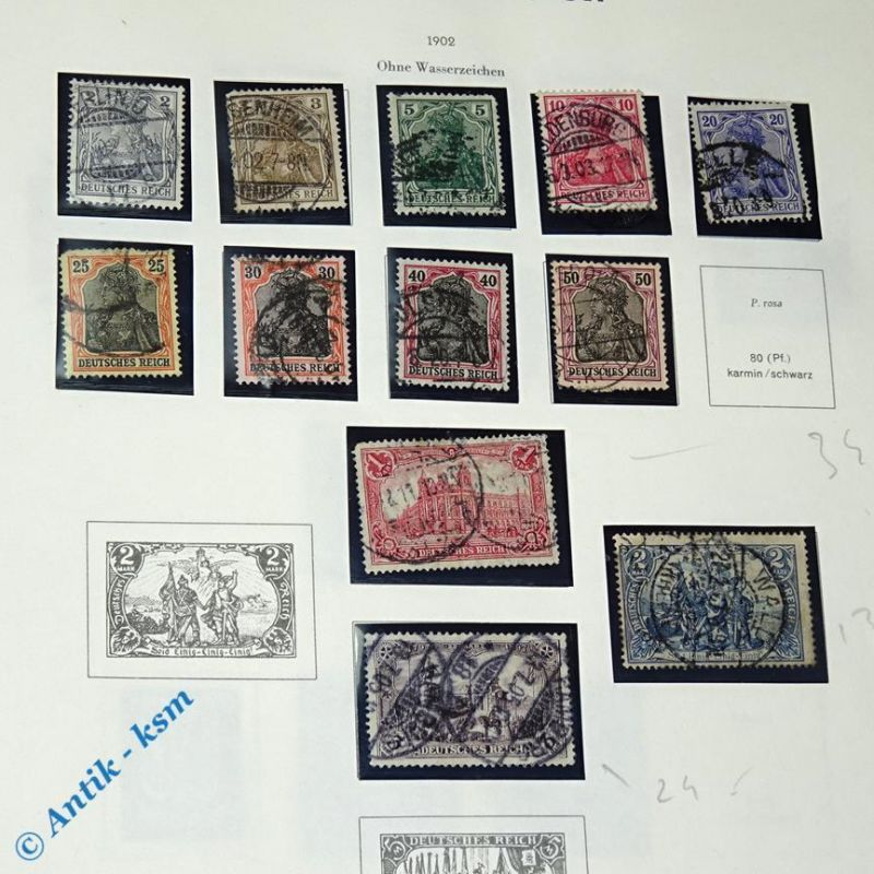 12 Briefmarken von 1902 Mi.-Nr. ? , 2 Pfennig bis 2 Mark , siehe Detailbilde