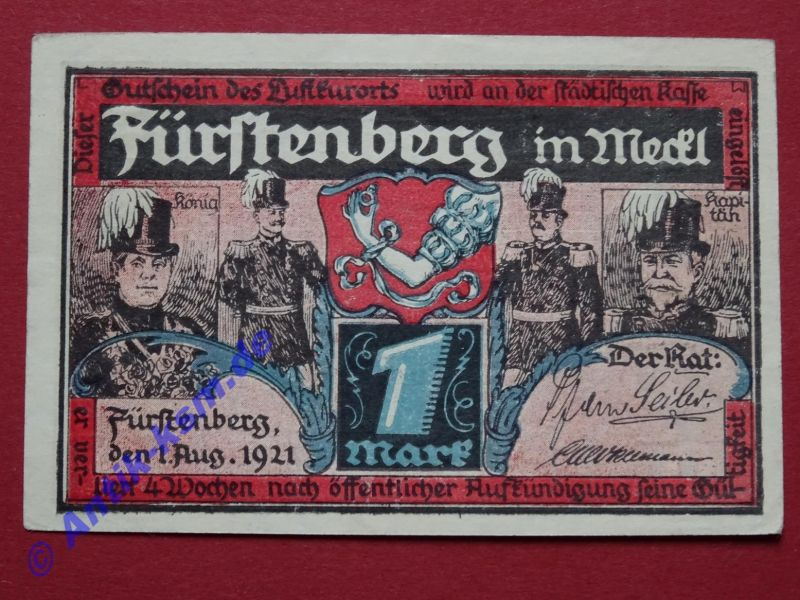 TOP Notgeld Fürstenberg -rosa- , german emergency Money , 1 Mark , kfr / unc