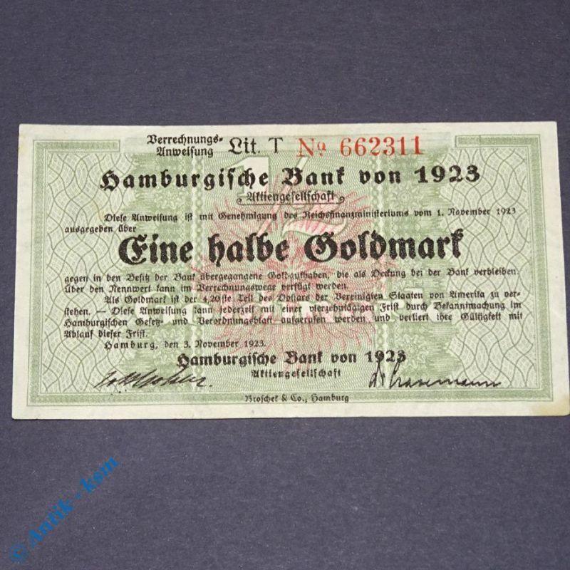 Wertbeständiges Notgeld : 1/2 Goldmark , Hamburgische Bank von 1923