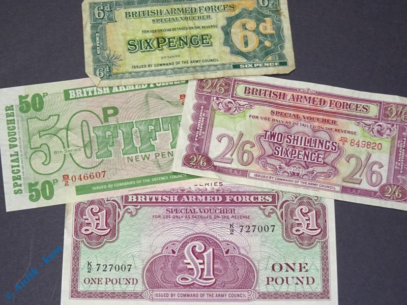 4 Scheine 6 pence bis 1 Pfund, 4 Notes british armed Forces , 6 pence to 1 Pound