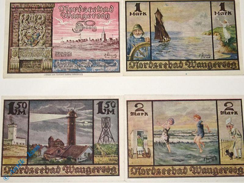 4 x Notgeld Wangeroog , Handelsbank ,german emergency money , M/G 1375.1 kfr/unc