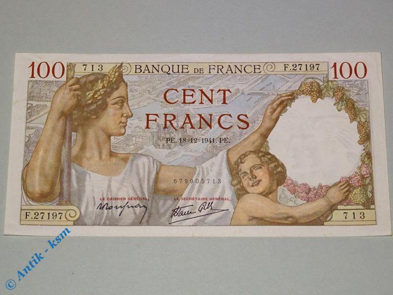 Banknote Frankreich , 100 Cent Francs , vom 18.12.1941 , kfr / unc , L@@K