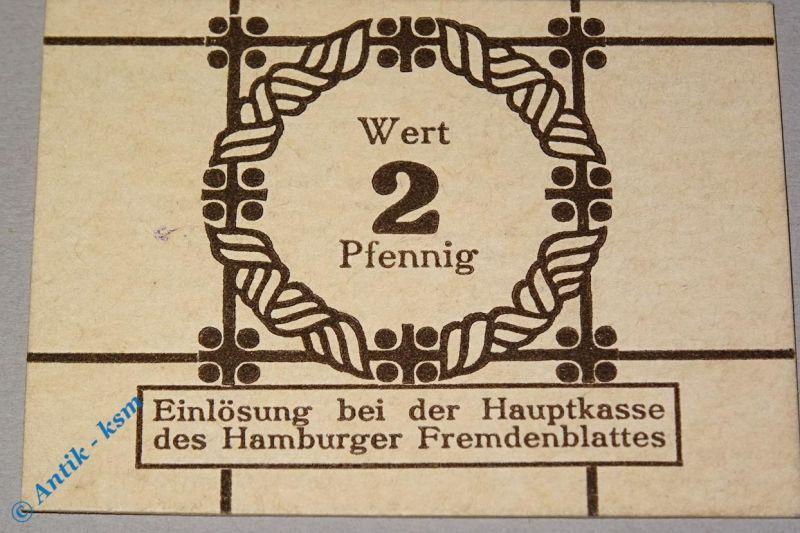 Notgeld Hamburg , Fremdenblatt , 2 Pfennig Schein , Tieste 2765.150.02 , kfr/unc