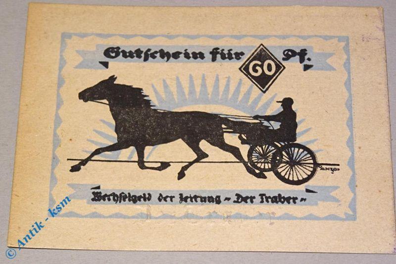 Notgeld Hamburg , Traber , 60 Pf. Schein + Prägest. , Mehl Grabowski 524.1 A kfr