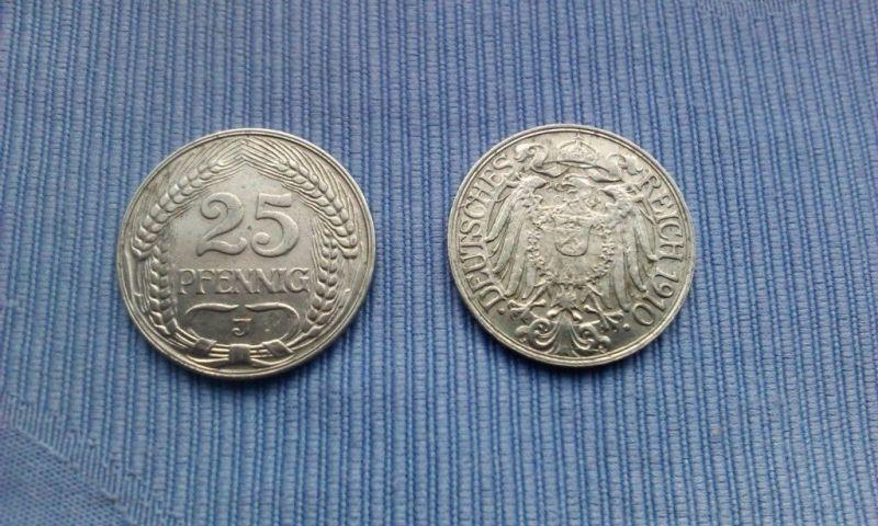 1 x Münze Kaiserreich : 25 Pfennig von 1910 J / Hamburg  --- SELTEN ---